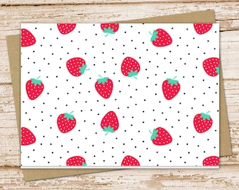 strawberry note card set .  strawberries notecards . summer fruit . blank note cards . folded stationery . stationary . set of 6