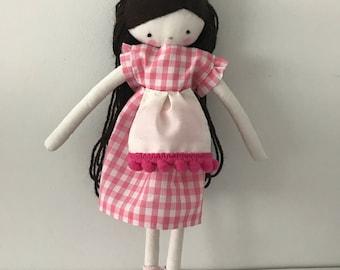 Handmade rag doll , Carla- ooak cloth art rag doll polka dots dress, hat and socks toys for girls