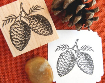 Double Pinecone Rubber Stamp - Handmade rubber stamp by BlossomStamps