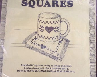 Mug mat squares (12) ready to cross stitch