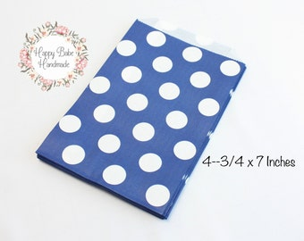 Navy Favor Bags, Polka Dot Favor Bags, 4--3/4 by 7 Inches, 12 Bags, Navy Treat Bags, Navy Paper Bags, Navy Bags, Treat Bags, Navy Wedding