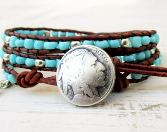 Turquoise Triple Wrap Bracelet, Indian Head Nickel Bracelet, 3 Times Around Leather Wrap Bracelet, Southwestern Boho Jewelry