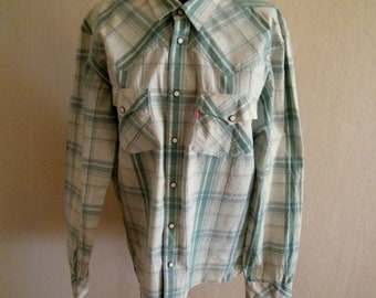 Vintage Levi Strauss Western shirt Levis white green checkered shirt Classic Long sleeves with snap closures at cuffs shirt size L