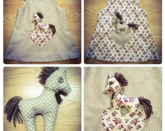 Handmade Reversible Flowers/brown polka dots girl's dress New Born - 4-5 years with Horse