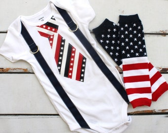 Tie and Suspenders Bodysuit & Leg Warmers SET.  Stars and Stripes Patriotic Baby Boy.  4th of July, Red, White and Blue. Summer Vacation 1st