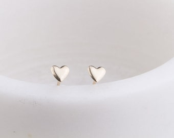 Tiny Gold Heart Stud Earrings, Tiny Stud Earrings, Minimalist, Everyday Earrings, Gift Under 30, Gold Heart Earrings, Heart Studs,Love Heart