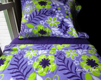 Toddler Girl Fleece Bedding Set 'Purple and Lime Flowers' Handmade Fits Crib and Toddler Beds