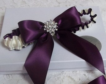 Wedding Garter,  Purple Bows Wedding Garter, Eggplant Bridal Garter. Keepsake Ivory Wedding Garter, Bows and Bling wedding garter