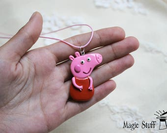Peppa Pig pendant Peppa Pig necklace Peppa Pig charm Kid's jewelry Cartoon pendant Happy pig necklace Pink kids necklace Funny pendant