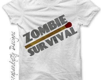 Zombie Iron on Shirt PDF - Matchstick Iron on Transfer / Zombie Survival Shirt / Mens Tshirt / Apocalyspe Clothes / Kids Boys Clothing IT77