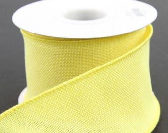 "Wired Burlap Ribbon ~ 2.5"" Bright Yellow Burlap Ribbon ~ Natural Jute Ribbon ~ Ribbon For Wreaths & Crafts ~ 3 Yards"