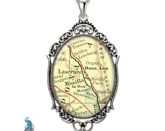 Vintage Map Necklace Oval Filigree Pendant City of Lascruce New Mexico Antique Map Pendant State of NM Map Jewelry Destination Travel
