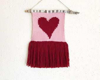 Hand made pink with dark red heart weaving wallhanging