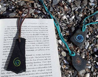 Natural painted slate rock book marks