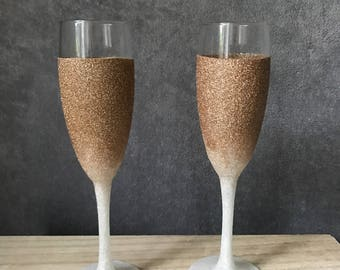 Ombre Glitter Champagne Prosecco Glasses Glass Personalised Custom