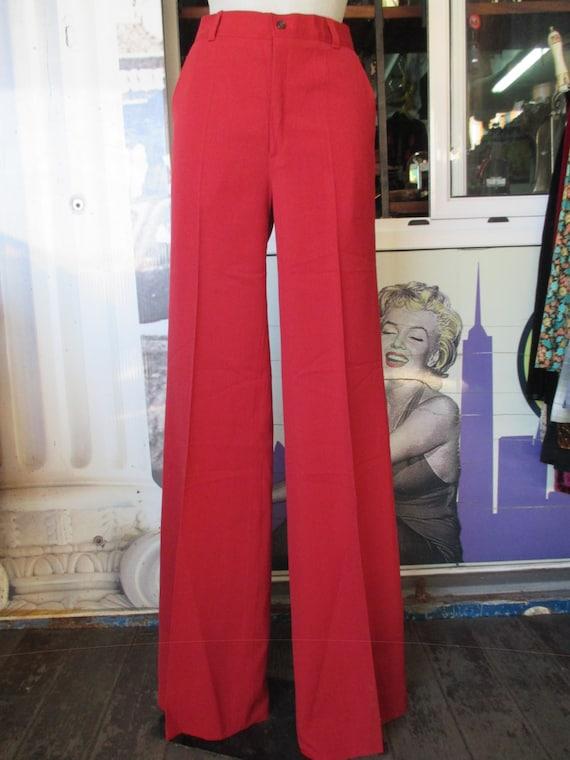 Pantaloni in gabardine anni 70.Zampa d'elefante.Unisex.Fondo magazzino.Tg 48/70s gabardine pants/Flared/Unisex/Deadstock/Red brick/Size 34 9ijQYeYh6