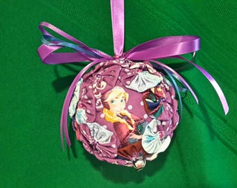 Handmade Christmas Ornament Disney's Frozen Anna Handmade Hand Sewn Yo Yos Ornament Ribbons Bows and Bells