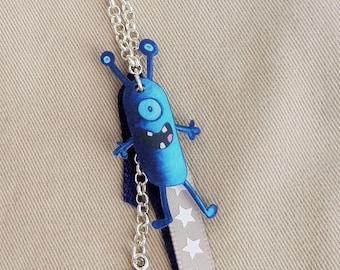 Blue Monster pendant necklace