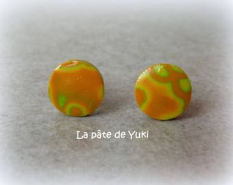 Stud Earrings round orange green handmade polymer clay
