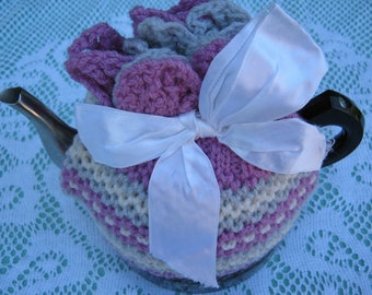 Vintage Tea Cozy - Pink and Stripes Moss Stitch Tea Cosy/Cozy Vintage Style for your teapot.