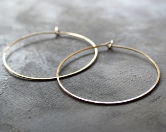 "gold hoop earrings 14k, Thin Hoop Earrings - Large Hoops 2"" gold hoop earings, large thin gold hoops,  minimalist earrings"