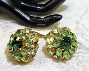 Vintage Judy Lee Shades of Green and Light Citrine Coloured Rhinestone Earrings