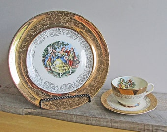 Vintage Crest-o-Gold Plate Tea Cup and Saucer, Warranted 22 K Gold by Sabin, 2 Sets