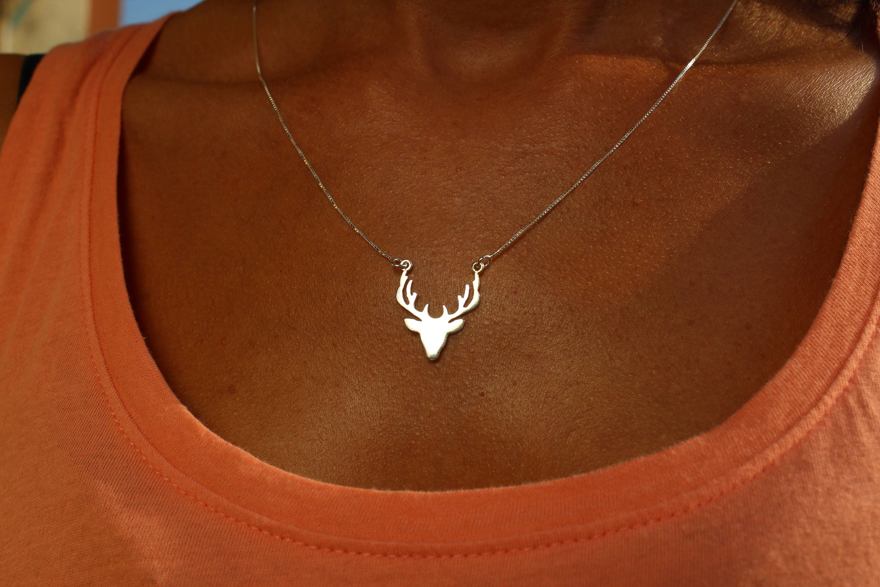 necklace stag luulla pendant original elk product co in head necklacd antler on reindeer deer