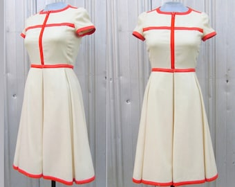 RESERVED Vintage COURRÈGES Dress Paris 1960's Hyperbole Cream Wool with Orange Leather Trim MOD Couture size 2