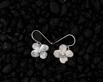 Hydrangea Flower Blossom Earrings~Shiny Sterling Silver Jewelry~Hand Made Artist Jewelry~Botanical/Gardener/Nature/Woodland