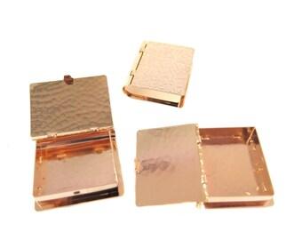 Rose Gold Plated Reptile Print Hinged Book Locket (1X) (M893-D)