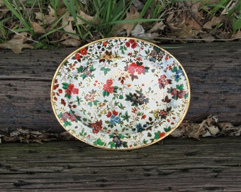 Nevco Floral Metal Serving Tray Decorative Vintage Made in Republic of South Africa
