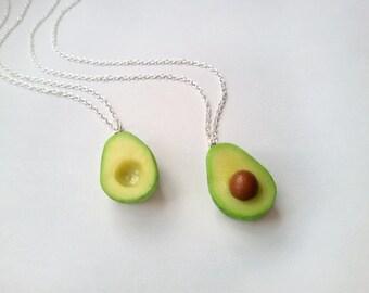 BFF Avocado Necklace vegan jewelry avocado jewelry miniature food jewelry best friend kawaii charms BFF necklace