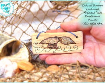 Whale Tail Driftwood Art Ornament, Pyrography and Pencil, #DWOR12