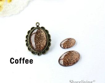 Handmade Coffee Glitter Oval Glass Cabochons , 10x14mm, 13x18mm, 18x25mm, 30x40mm Oval Sparkle Glass Dome