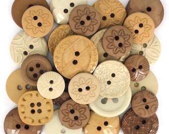 Jesse James Button Embellishments Color Me Natural Button Mixed Assortment Browns Tans Beige