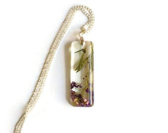 Resin jewelry Clear resin pendant with real dried purple flowers Floral necklace Botanical jewelry