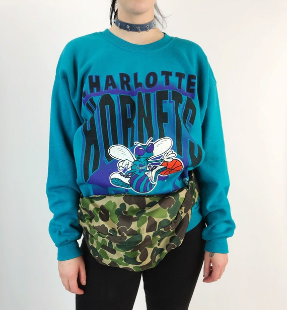 90's NBA Charlotte Hornets Pullover Sweatshirt Adult Large - VTG Old School Basketball Logo Pullover - Sporty Sweater NC Charlotte Hornets