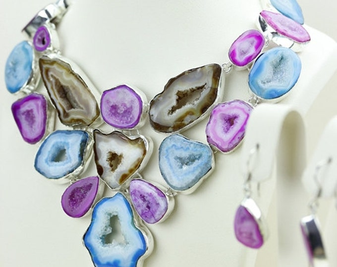 WOW Factor! Natural Shades of Botswana Agate Drusy Druzy Stalactite 925 S0LID Sterling Silver Necklace N482