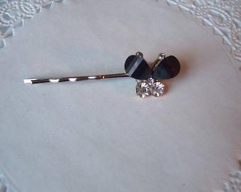 Butterfly Hair Pin (351) - Black Onyx Hair Pin - Rhinestone Hair pin - Repurposed Jewelry - Jeweled Hair Pin