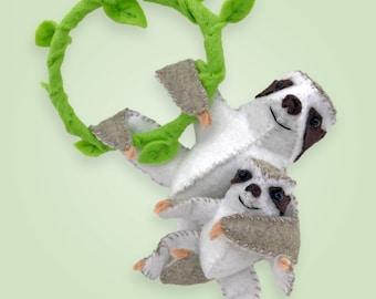 New! Sloth Sewing Kit, Felt Animal Craft Kit, Felt Sloth Ornament, DIY Sloth, Beginner Sewing Kit, DIY Kit, Hand Stitching, Sloth