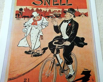 Vintage Bicycle Poster Print Snell American Cycles in Paris 1897 Poster Size Book Plate