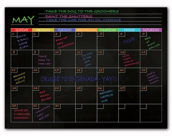 Magnetic Dry Erase Refrigerator Calendar In Black – List Important To Do's, Appointments Or Notes