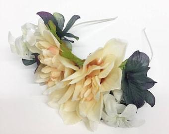 Grey Ivory Fall Inspired Flower Crown Headband