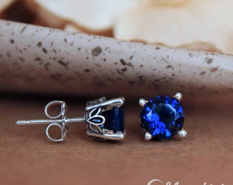 Blue Sapphire Gemstone Stud Earrings - Sterling Silver Sapphire Gemstone Earrings - September Birthstone Jewelry - Sapphire Post Earrings