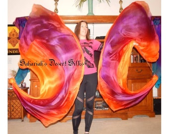 Silk Veil Poi Veil Killer Tornado Poi Voi Set 2 Poi Veils and Set of Poi Chains Sahariah's Desert Silks Belly Dance Poi Flow Arts