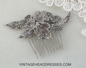 Vintage Marcasite Hair Comb, Marcasite Bridal Hair Comb, Vintage Wedding Hair Comb, Floral Comb, Marcasite Hair Accessory, Hair Adornment