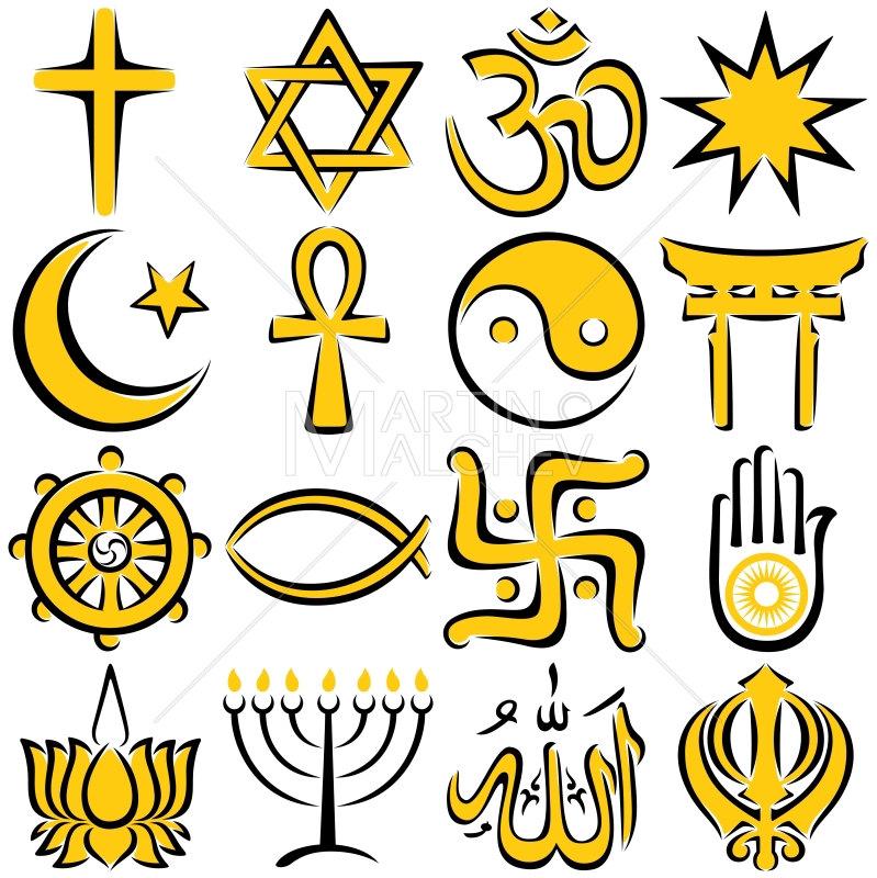 Religious Symbols Illustration Religion Symbol Set Icon Line
