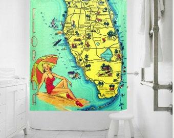 Florida Map Shower Curtain, Coastal Decor, Old Florida Art Shower Curtain Mid Century Bathroom, yellow, aqua red, Beach Bathroom Decor