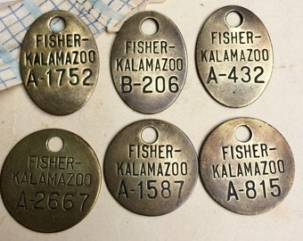 Vintage BRASS TAGS (6) Fisher Kalamazoo GM Plant with Numbers for Altered Art- Mixed Media- Repurpose- Jewelry Making
